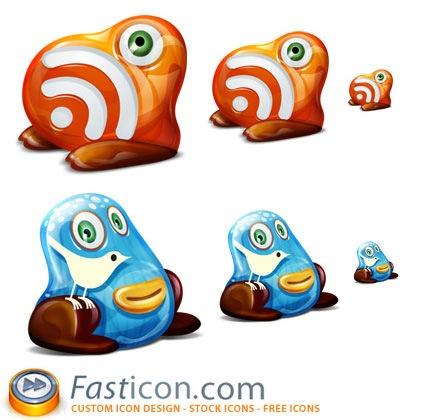 Иконки-монстры RSS и Twitter