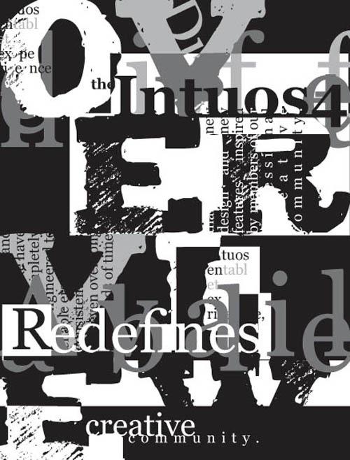 затертые шрифты в типографическом постере