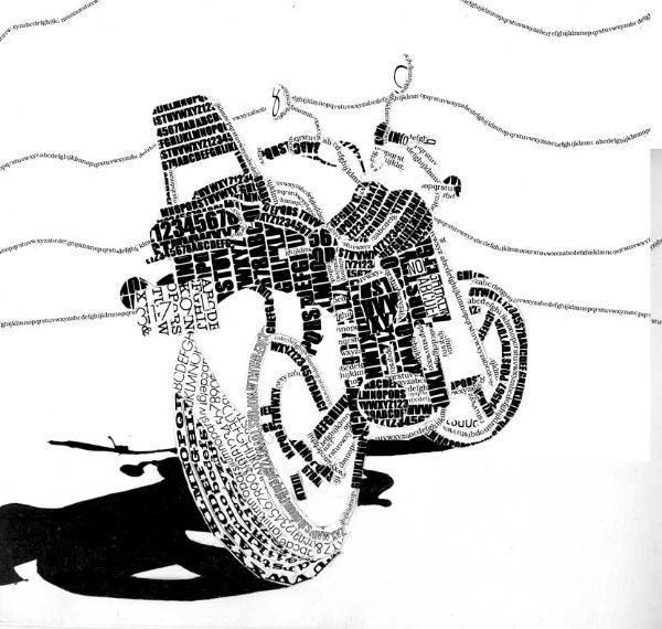 Типографическая мозаика Мотоцикл