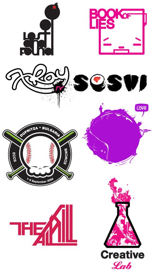яркие стильные логотипы с иллюстрацией