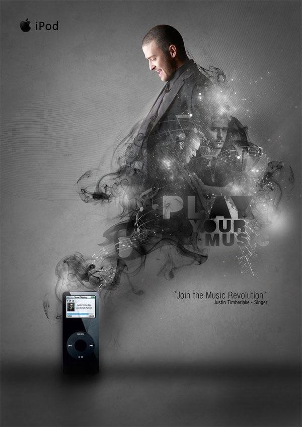 Рекламный постер для iPod