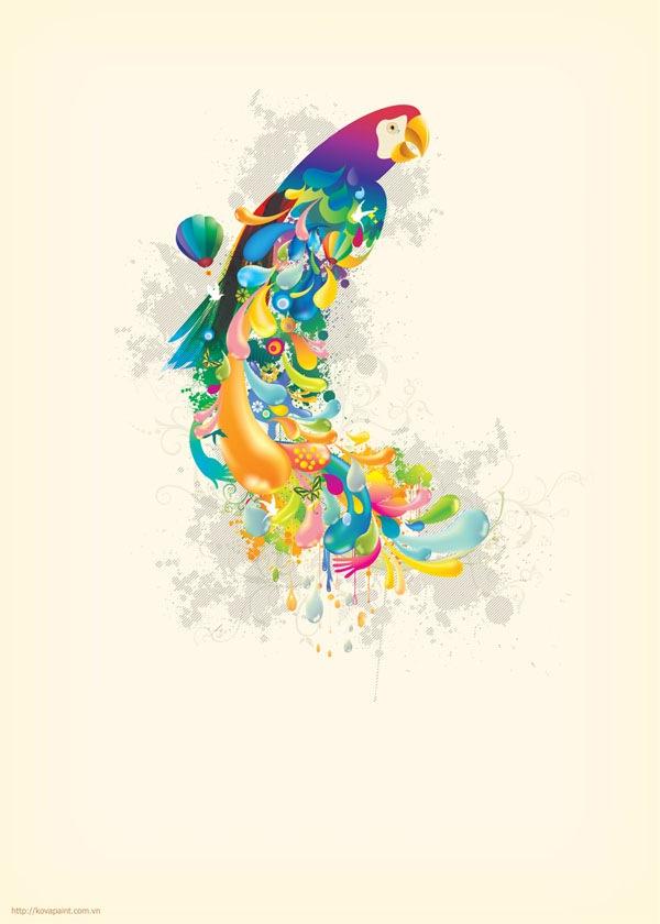 абстрактный попугай