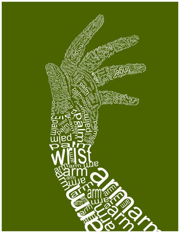 Белая типографическая рука