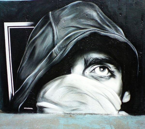 креативное черно-белое граффити