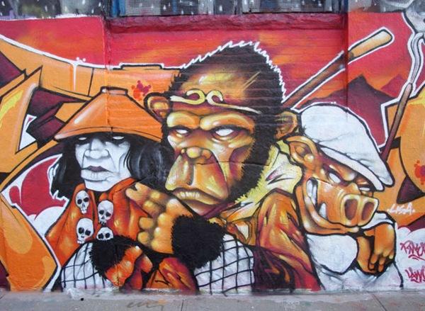 яркие уличные рисунки