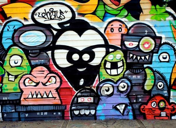 забавные монстры на граффити рисунке