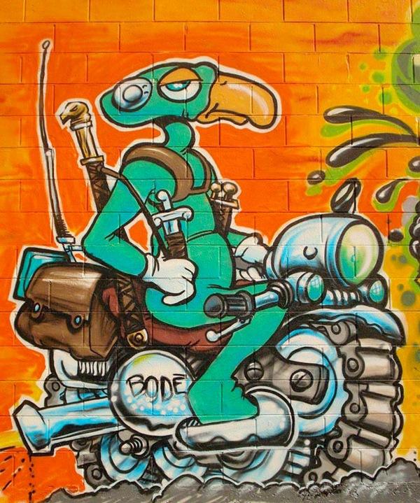 граффити с изображением мультипликационного инопланетянина