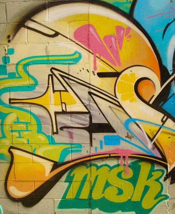 граффити в ярких тонах