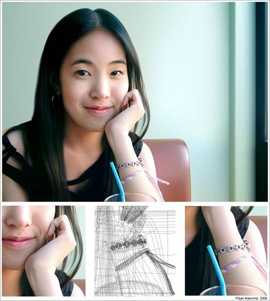 тайская девушка в векторе