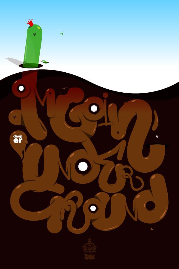 шрифты в виде необычных червячков