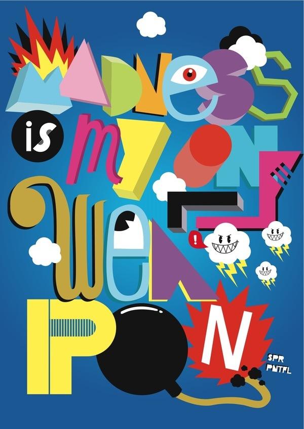 иллюстрированные яркие шрифты