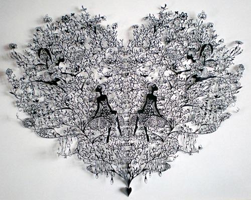 узорное сердце вырезанное из бумаги