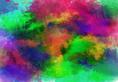 радужные пятна краски