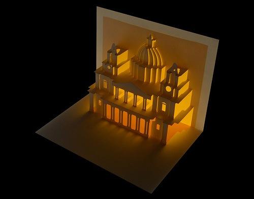 объемное здание из бумаги