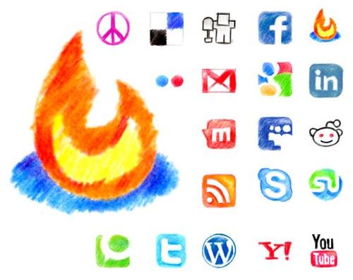 Веб 2.0 иконки нарисованные карандашом