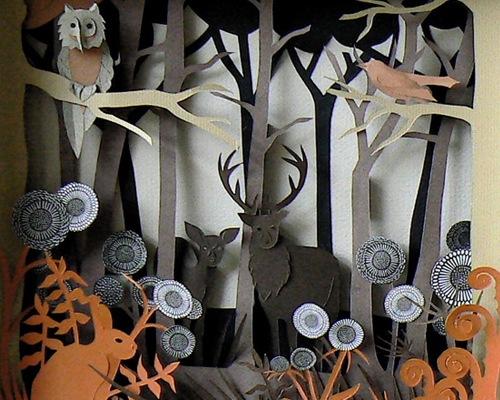 бумажный лесной пейзаж