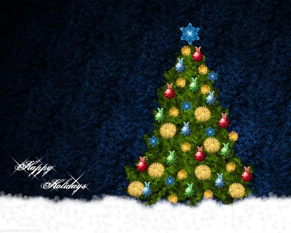 Обои с новогодней елкой
