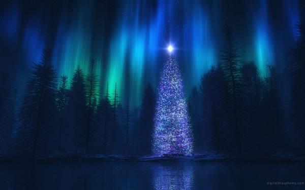 Новогодние обои с северным сиянием
