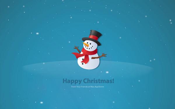 Новогодние обои с снеговиком