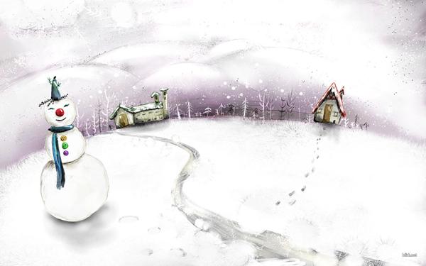 Иллюстрированные новогодние обои