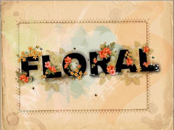 Обои с цветочным типографическим эффектом