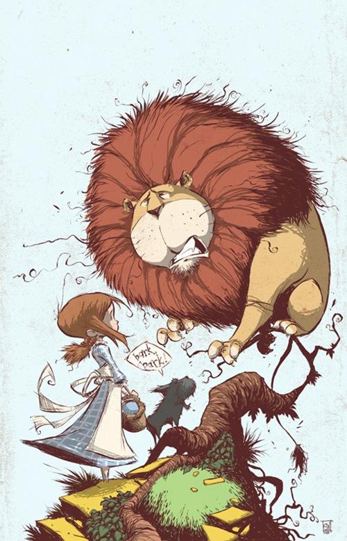 испуганный лев на ветке