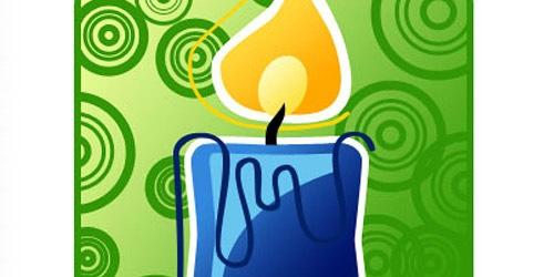 Новогодняя голубая свеча