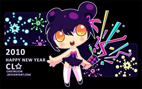 Новогодние обои в стиле аниме