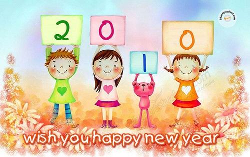 Забавные мультипликационные иллюстрации с пожеланиями к 2010 году