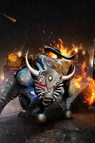 горящий бык в 3D