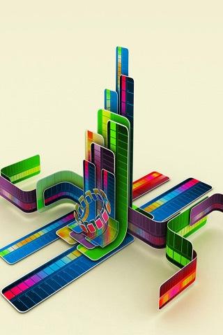 яркие типографические 3D обои