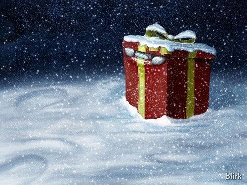 Обои с изображением новогоднего подарка