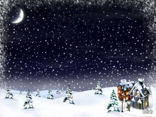 Новогодний снег в лунном свете