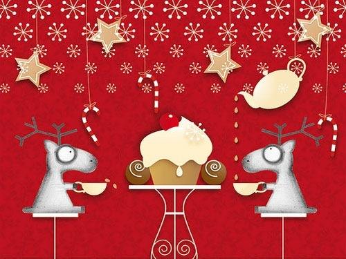 Красные рождественские обои