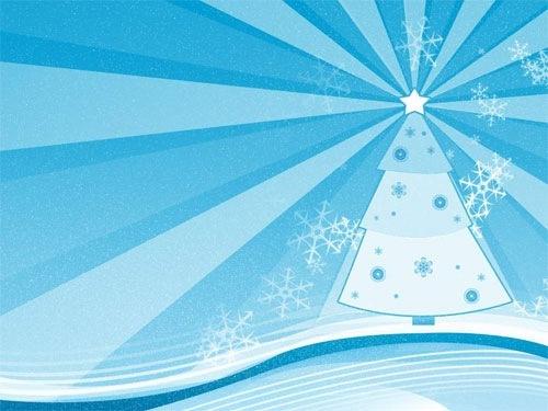 Голубые новогодние обои
