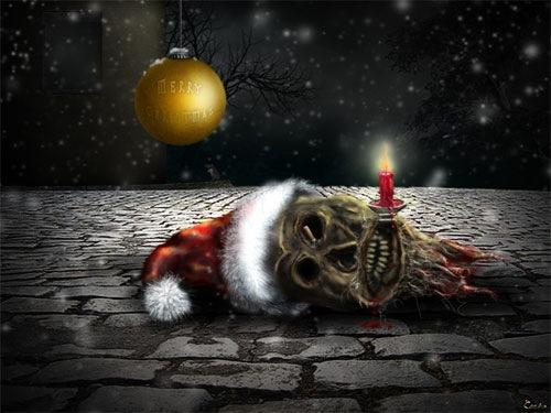 Страшные новогодние обои