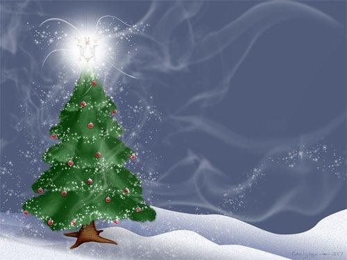 Блестящая новогодняя елка