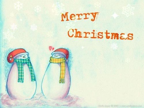 Иллюстрации снеговиков на обоях