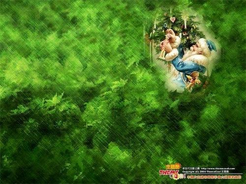 Санта на зеленом фоне
