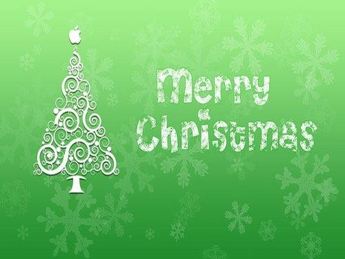 Зеленые иллюстрированные новогодние обои