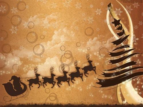 Новогодние обои в коричневых тонах