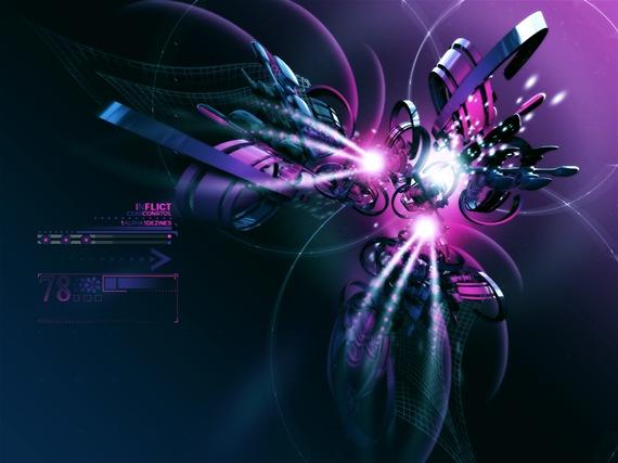Абстрактные 3D обои в фиолетовых оттенках