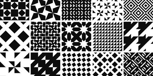 100 монохромных геометрических паттернов