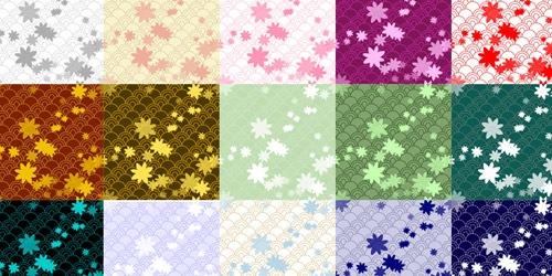 20 паттернов в виде волн с элементами цветов