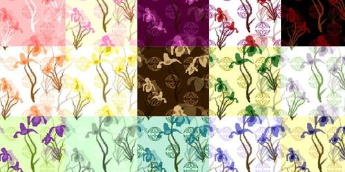 20 разноцветных паттернов с элементами цветов ириса