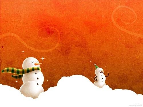 Яркие новогодние обои с снеговиками