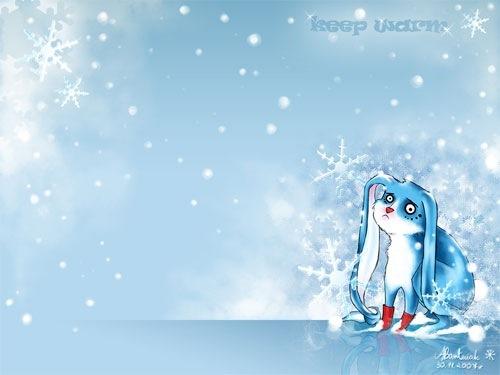 Голубые зимние обои с кроликом