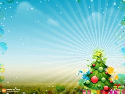 Сияющая новогодняя елка и снежинки