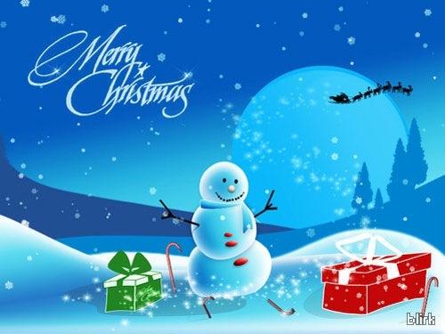 Голубые новогодние обои с иллюстрациями