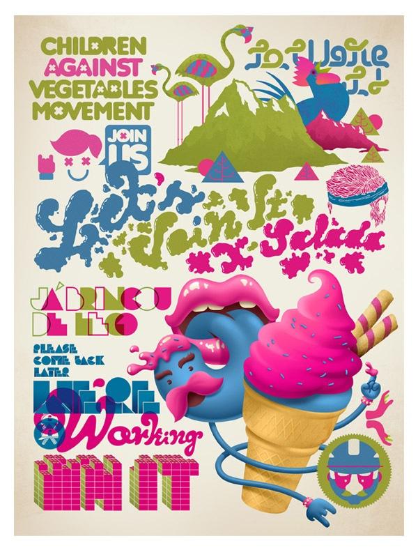 Иллюстрированный типографический постер